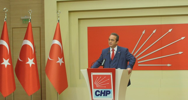 CHP spokesperson Bülent Tezcan speaks to reporters in Ankara, Turkey on May 20, 2017. (DHA Photo)