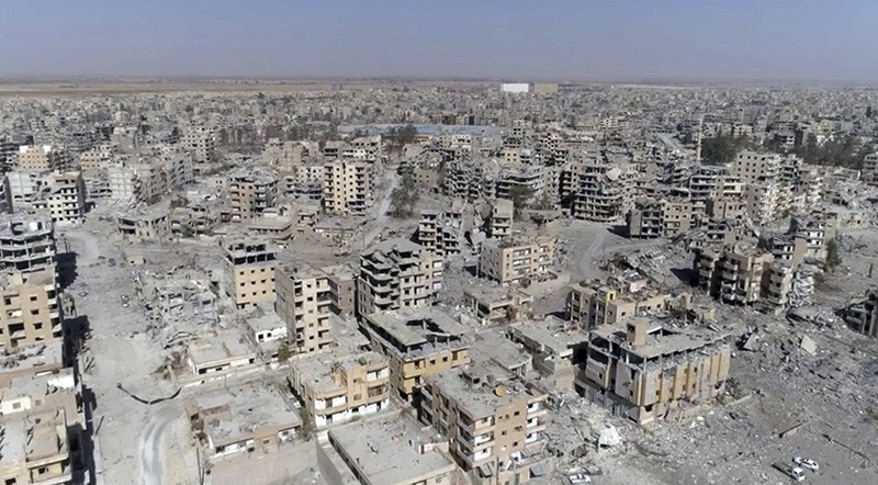 This Oct. 19, 2017 frame grab made from drone video shows damaged buildings in Raqqa, Syria, two days after U.S.-backed terrorist Syrian Democratic Forces said that operations to oust Daesh had ended. (AP Photo)