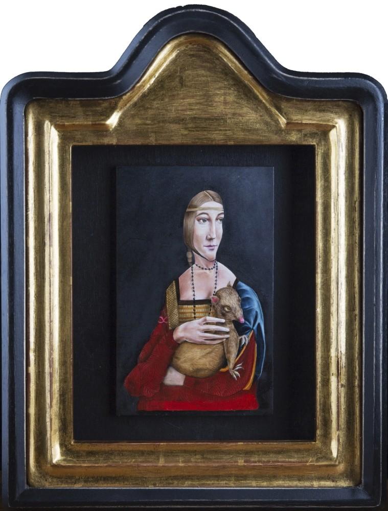 Mehmet Sinan Kuran u2013 Recep Serbest, u201cLady with an ermineu201d, 46x35 cm, Oil paint on wood.