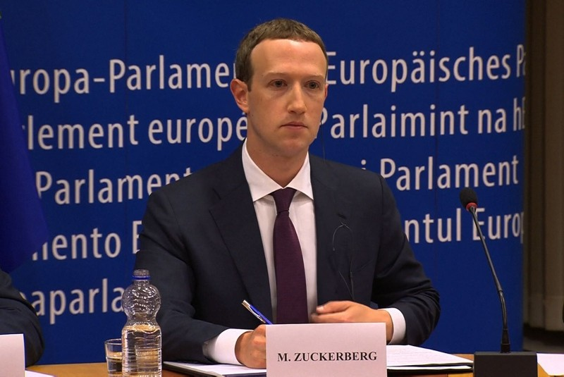 This video grab taken from the European Commission channel EBS, shows Facebook CEO Mark Zuckerberg during his audition at the European Parliament on the data privacy scandal on May 22, 2018 at the European Union headquarters in Brussels. (AFP Photo)