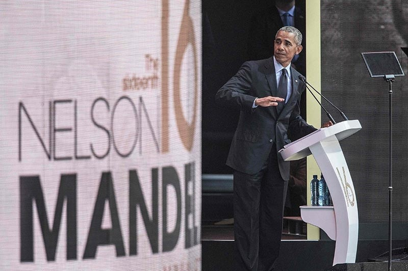 Former U.S. President Barack Obama speaks during the 2018 Nelson Mandela Annual Lecture at the Wanderers cricket stadium in Johannesburg on July 17, 2018. (AFP Photo)