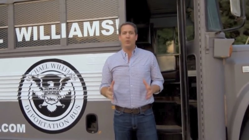 Michael Williams and his u201cDeportation Bus.u201d(AP Photo)