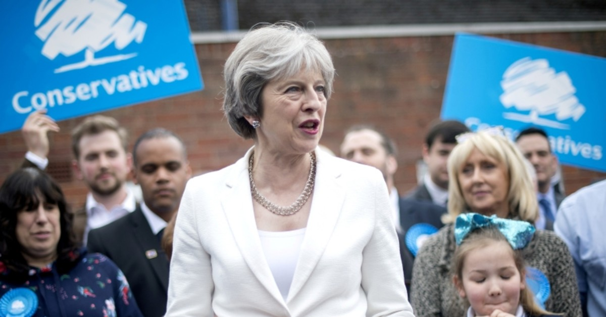 This file photo shows Prime Minister Theresa May speaking to party supporters at Sedgley Conservative Club in Dudley, United Kingdom May 4, 2018. (Anthony Devlin/Pool via Reuters)
