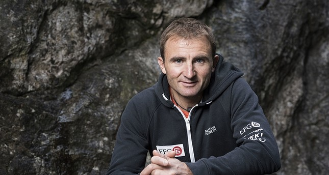 In this Sept. 11, 2015 file photo Swiss climber Ueli Steck poses for a photo at the foot of a climbing wall in Wilderswil, Canton of Berne, Switzerland (AP Photo)