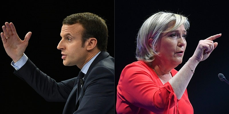 French presidential election candidate Emmanuel Macron speaking during a campaign rally in Paris, and Marine Le Pen speaking during a campaign rally in Deols. (AFP Photo)