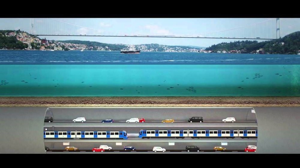 The 3-Story Grand Istanbul Tunnel will pass under the Bosporus Strait and consist of a metro line as well as a dual motorway.