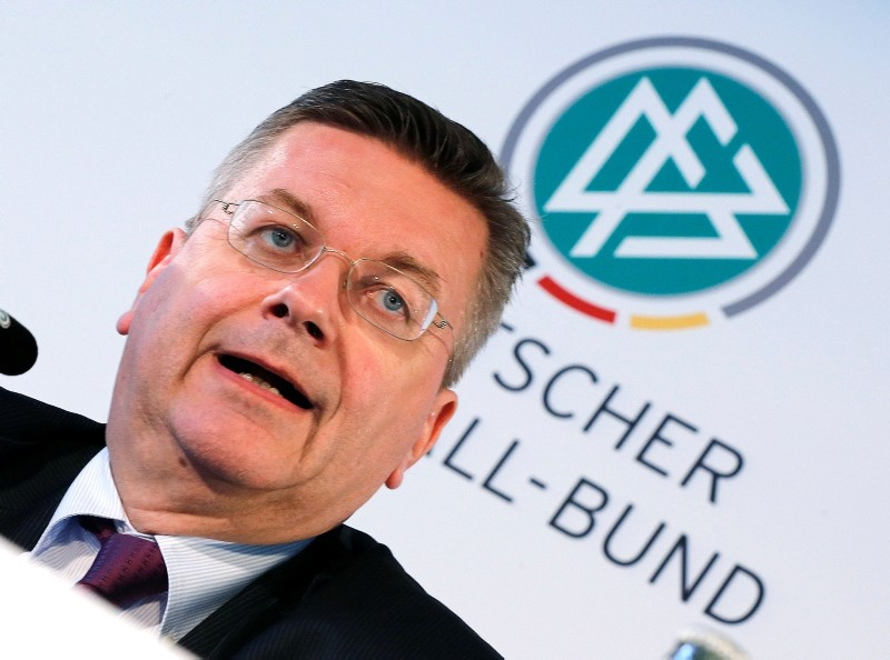 President of German football federation, DFB, Reinhard Grindel speaks during a finance press conference of the DFB in Frankfurt, Germany, Thursday, June 2, 2016. (AP Photo)