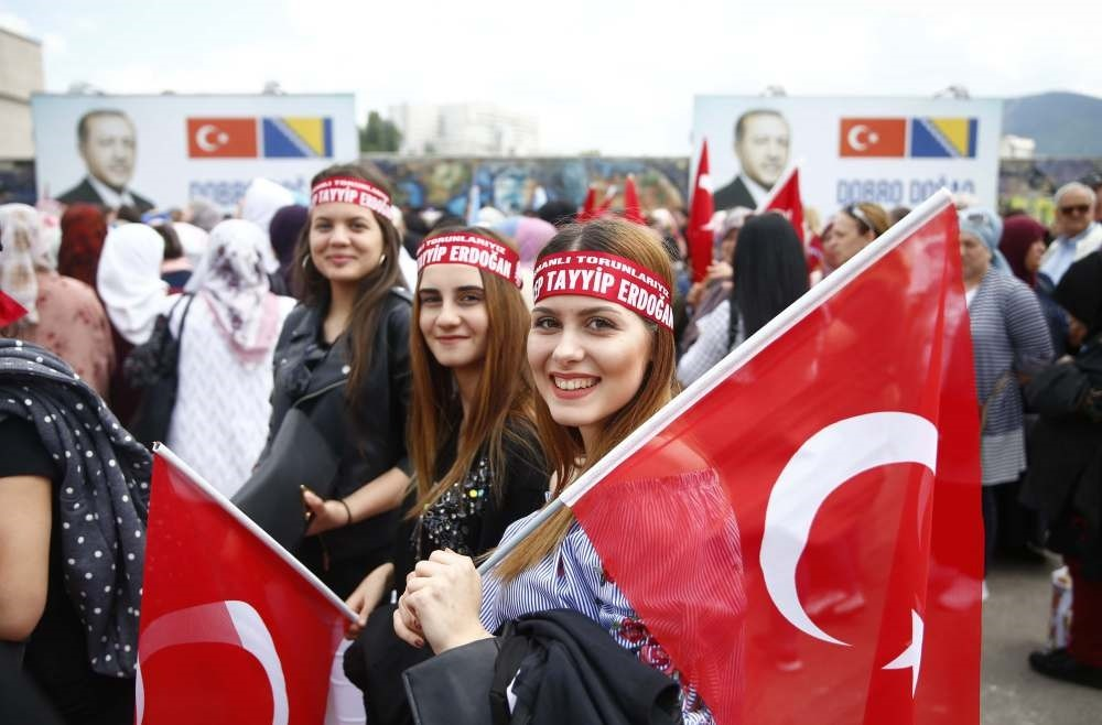 Supporters of President Recep Tayyip Erdou011fan gather before a pre-election rally in Sarajevo, Bosnia-Herzegovina, May 20.