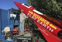 A self-proclaimed flat-earth researcher planning to launch himself in a homemade rocket 550 meters into the air has been forced to delay his mission.