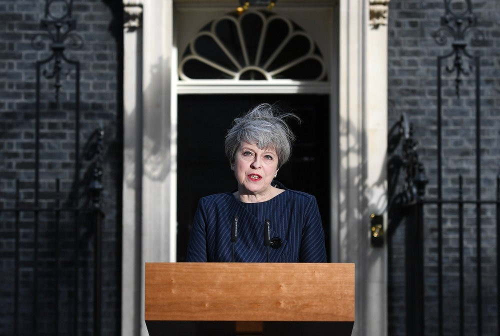 British Prime Minister Theresa May delivers a statement outside 10 Downing Street in London, Britain, April, 18 2017. British Prime Minister Theresa May has announced that she will call for a snap general election for June 8.