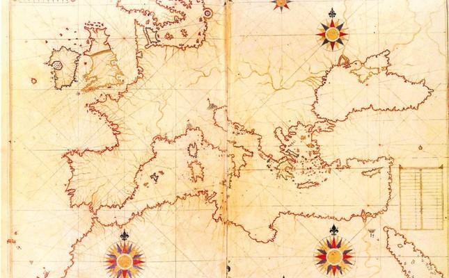 The world map drawn by Piri Reis.