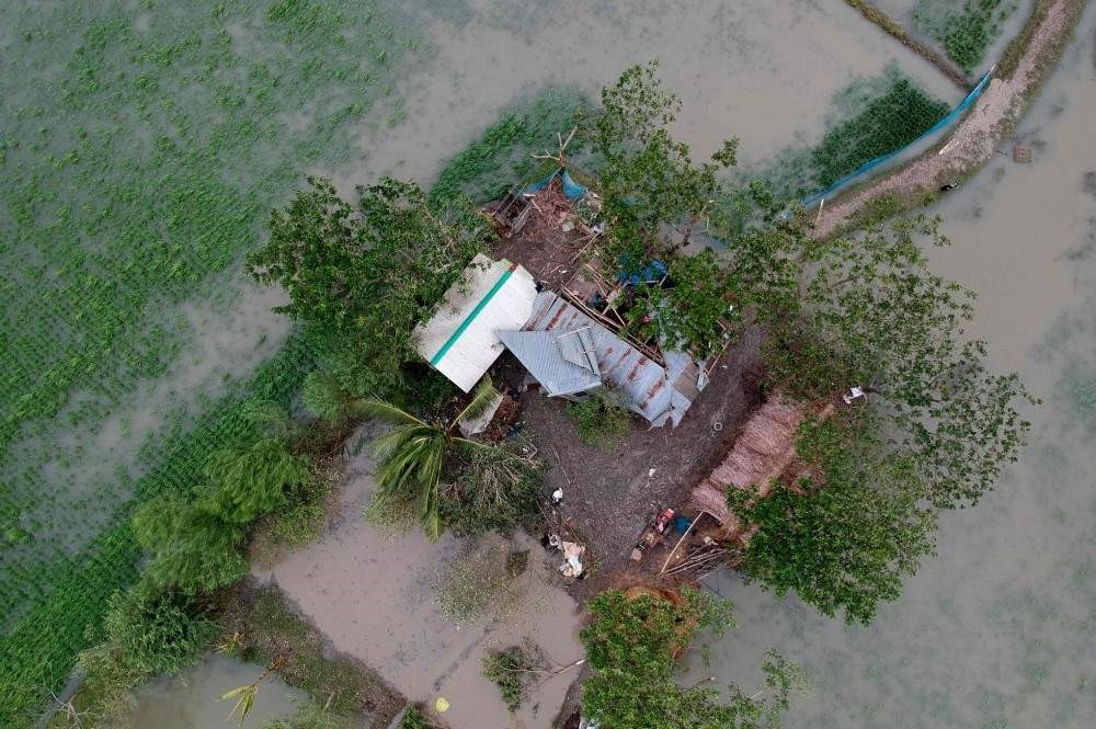 This aerial photo taken on Nov. 10, 2019, shows a destroyed house after cyclone Bulbul hit the area in Koyra, some 100 km from Khulna. (AFP Photo)