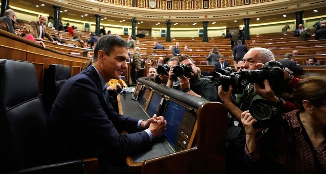 Spain's Prime Minister Pedro Sanchez is photographed at the Spanish parliament in Madrid, Wednesday, Feb. 13, 2019. (AP Photo)