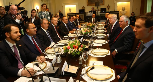 President Erdoğan, U.S. President Trump and their delegations prepare to have lunch in the Cabinet Room of the White House, May 16.