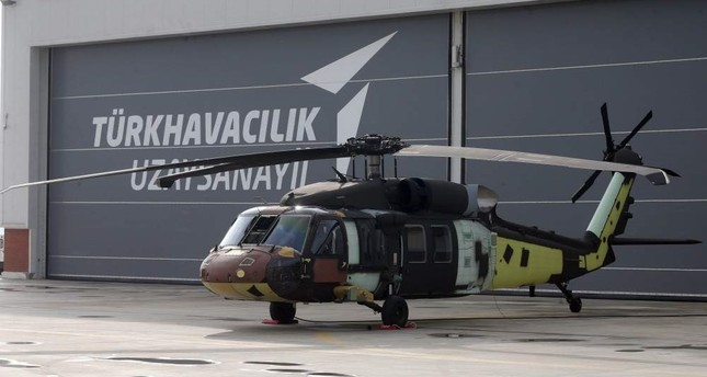 The first multi-role Turkish-built Black Hawk type T70 helicopter that was rolled out of the hangar on Nov. 25, 2019. (AA Photo)