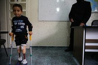 Syrian boy who lost both legs in regime strikes dreams of playing football