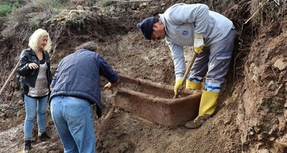 Roman-era tomb revealed after heavy rain triggers landslides in southwestern Bodrum