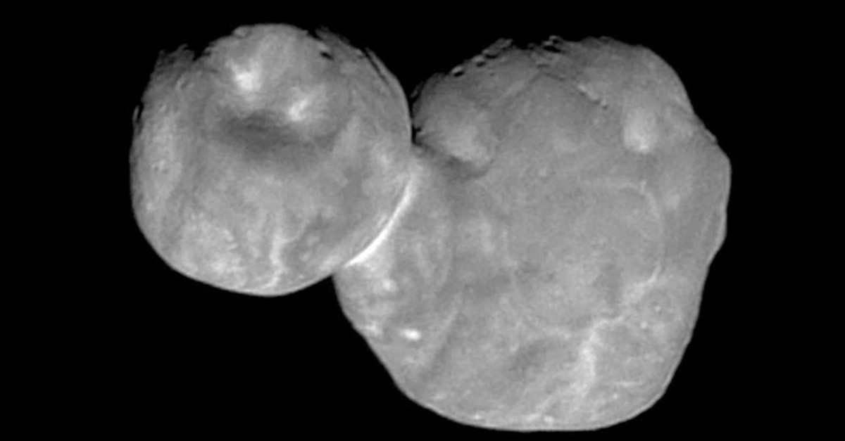 The Kuiper Belt object originally called Ultima Thule, about 1 billion miles beyond Pluto, encountered by the New Horizons spacecraft in this photo made available by NASA. (AP)