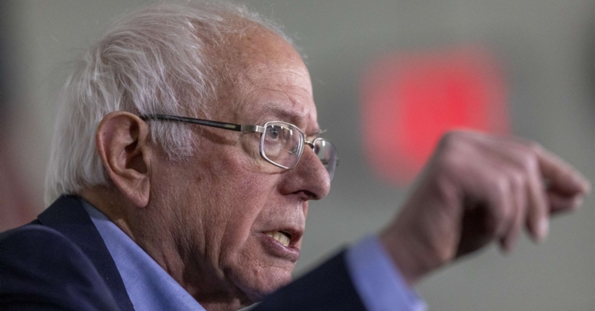 Democratic presidential candidate Sen. Bernie Sanders (I-VT) speaks during a news conference before holding a ,Get Out the Early Vote, rally on February 21, 2020 in Santa Ana, California. (AFP Photo)