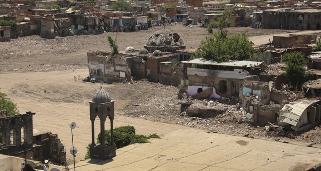 Damage caused by the PKK in the predominantly Kurdish southeastern city of Diyarbakır on May 22, 2016.
