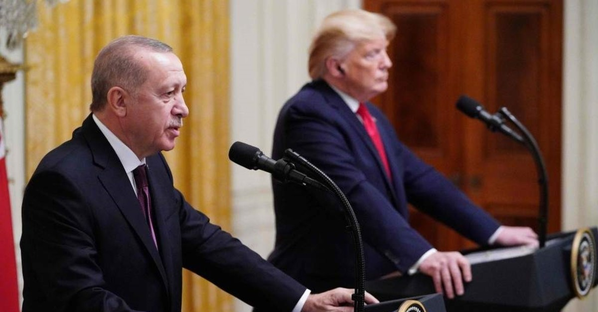 President Recep Tayyip Erdo?an and U.S. President Donald Trump take part in a joint news conference in the East Room of the White House, Washington, Nov. 13, 2019. (AFP Photo)