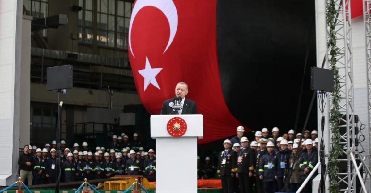 President Recep Tayyip Erdo?an speaks during the launching ceremony for Turkish Navy submarine Pirireis. He also inaugurated welding work on a fifth submarine, Seydialireis, Kocaeli, Dec. 22, 2019. (AA Photo)