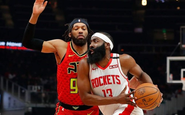 Harden drives against Bembry during the first half at State Farm Arena, Jan. 8, 2020. AFP Photo