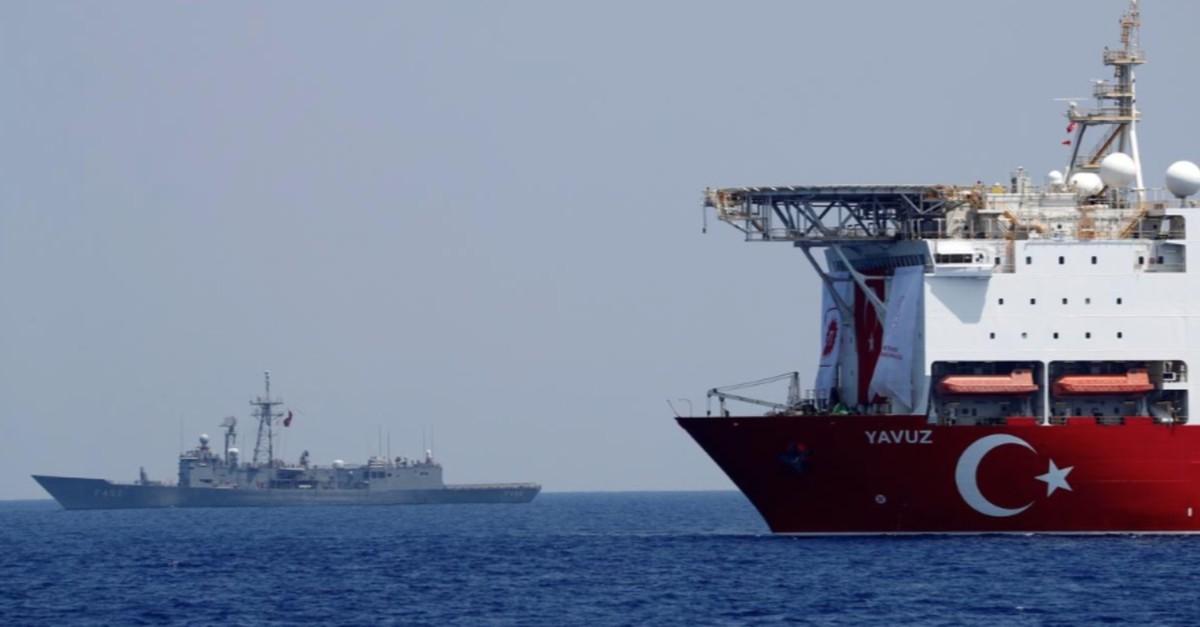 Drilling vessel Yavuz is escorted by Turkish Navy Frigate TCG Gemlik (F-492) in the Eastern Mediterranean off Cyprus, Aug. 6, 2019.
