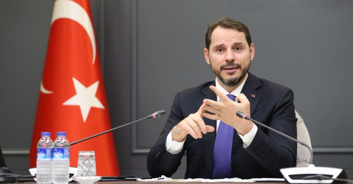 Treasury and Finance Minister Berat Albayrak speaks at a meeting with reporters, Ankara, July 30, 2019.