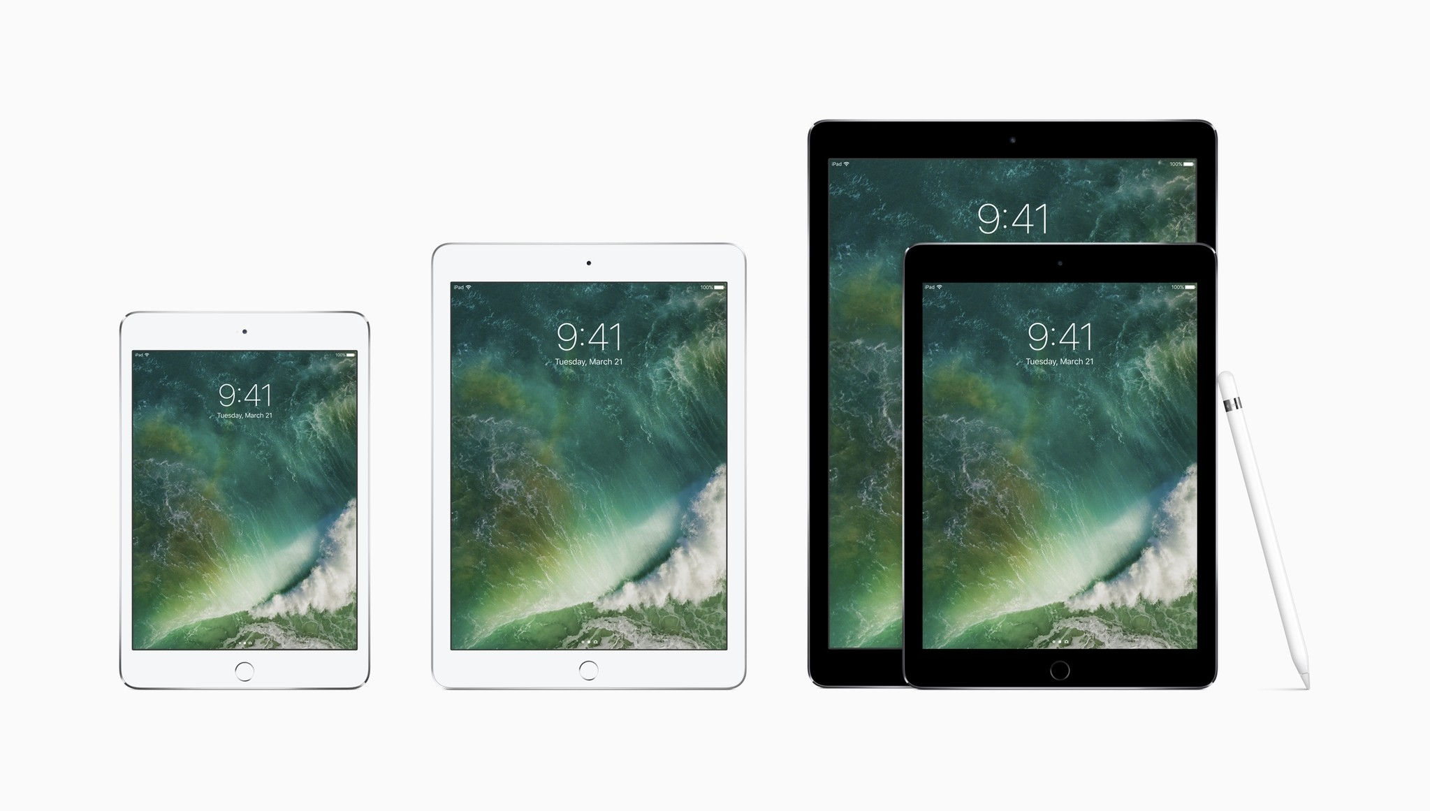 This photo provided by Apple shows the family of iPads, from left, the iPad mini 4, the new iPad, the 9.7-inch iPad Pro and the 12.9-inch one, along with the Apple Pencil. (Apple via AP)