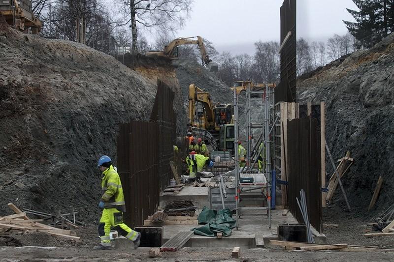 Construction work at the Maarjamae Memorial complex in Tallinn, Estonia, 10 January 2018. (EPA Photo)
