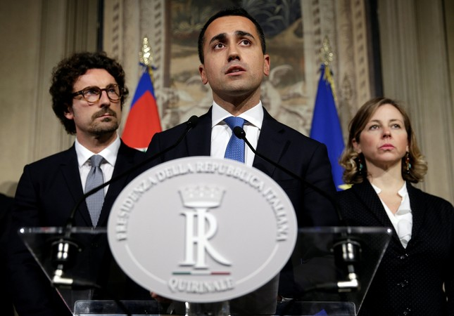 Anti-establishment 5-Star Movement leader Luigi Di Maio speaks following a talk with Italian President Sergio Mattarella at the Quirinal Palace in Rome, Italy, April 12.