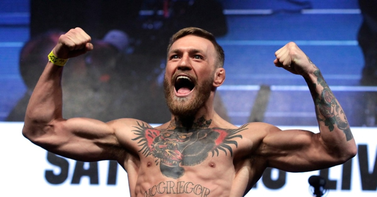 In this Aug. 25, 2017, file photo, Conor McGregor stands on a scale during a weigh-in event in Las Vegas. (AFP Photo)