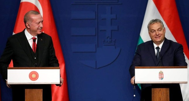 President Recep Tayyip Erdo?an L and Hungarian Prime Minister Viktor Orban hold a news conference in Budapest, Nov. 7, 2019. Reuters Photo