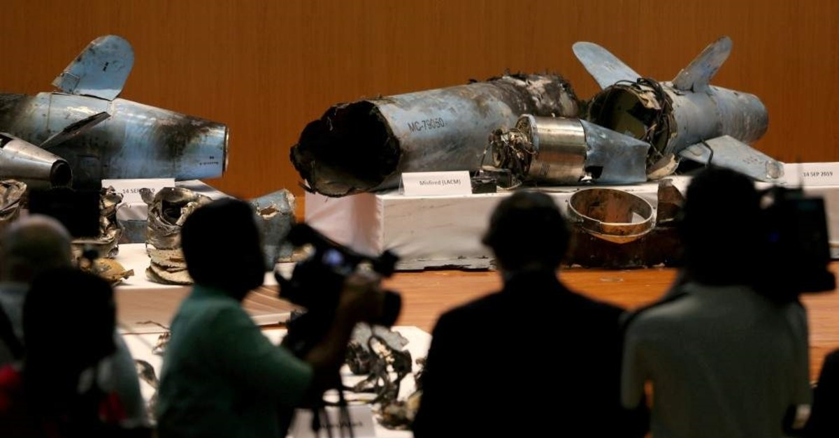 Remains of missiles, which Saudi government says were used to attack an Aramco oil facility, are displayed during a news conference in Riyadh, Saudi Arabia September 18, 2019. (Reuters File Photo)