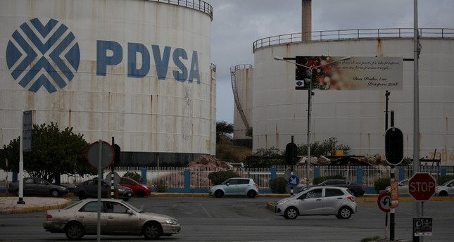The logo of Venezuelan oil company PDVSA is seen on a tank at Isla refinery in Willemstad on the island of Curacao April 22, 2018. (Reuters Photo)