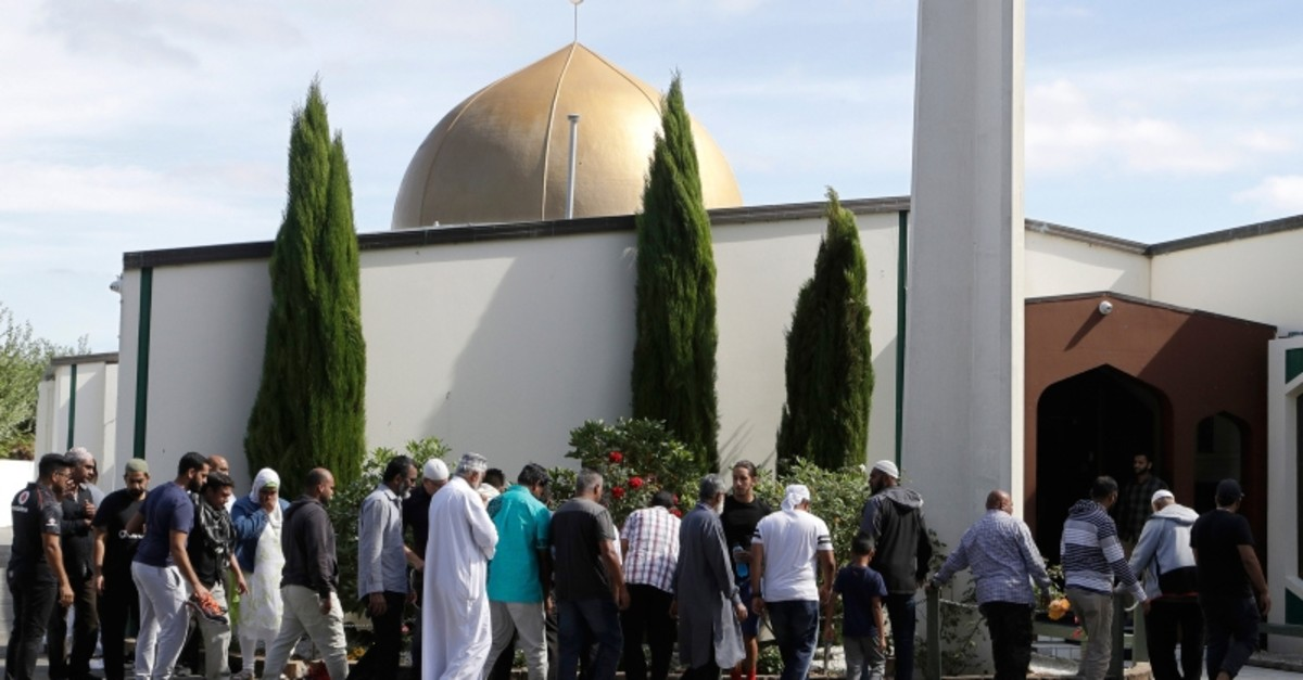 In this March 23, 2019 file photo, worshippers prepare to enter the Al Noor mosque following the previous week's mass shooting in Christchurch, New Zealand (AP Photo)