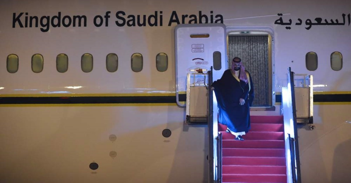 Saudi Crown Prince Mohammed Bin Salman deplanes at an airport in New Delhi, India, Feb. 19, 2019.
