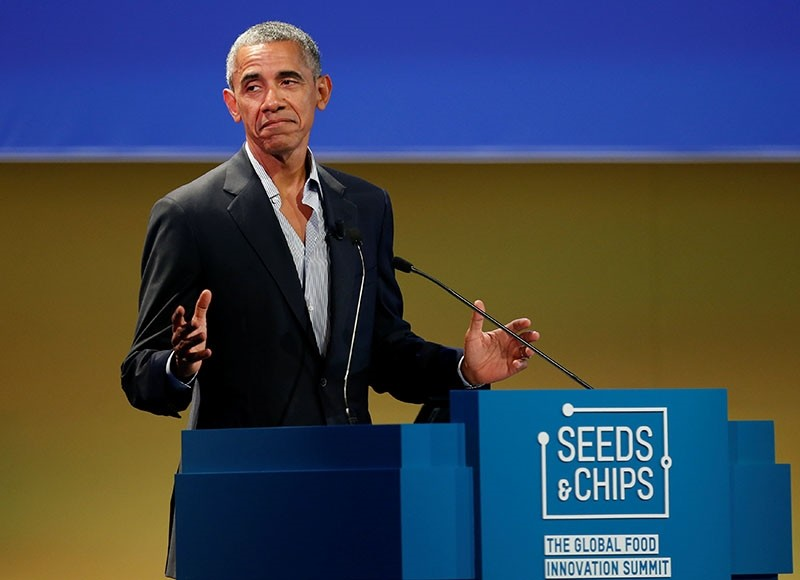 Former U.S. President Barack Obama talks during the Global Food Innovation Summit in Milan, Italy May 9, 2017 (Reuters Photo)