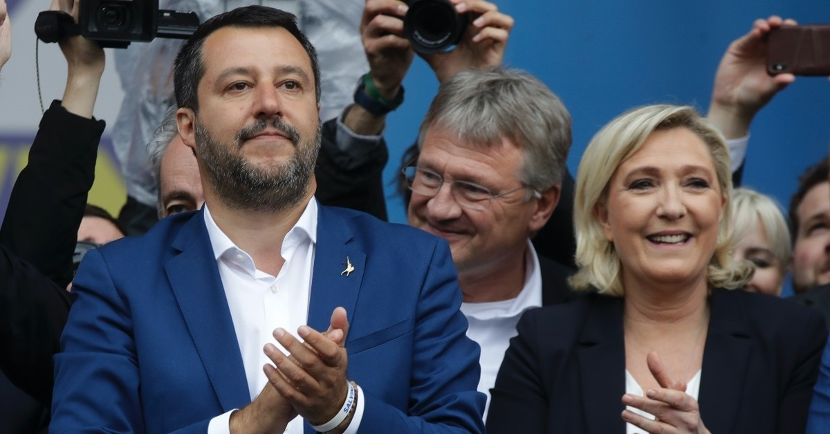 Matteo Salvini, the head of Italyu2019s right-wing League party and Marine Le Pen, leader of Franceu2019s National Rally, attend a rally, Milan, May 18, 2019.