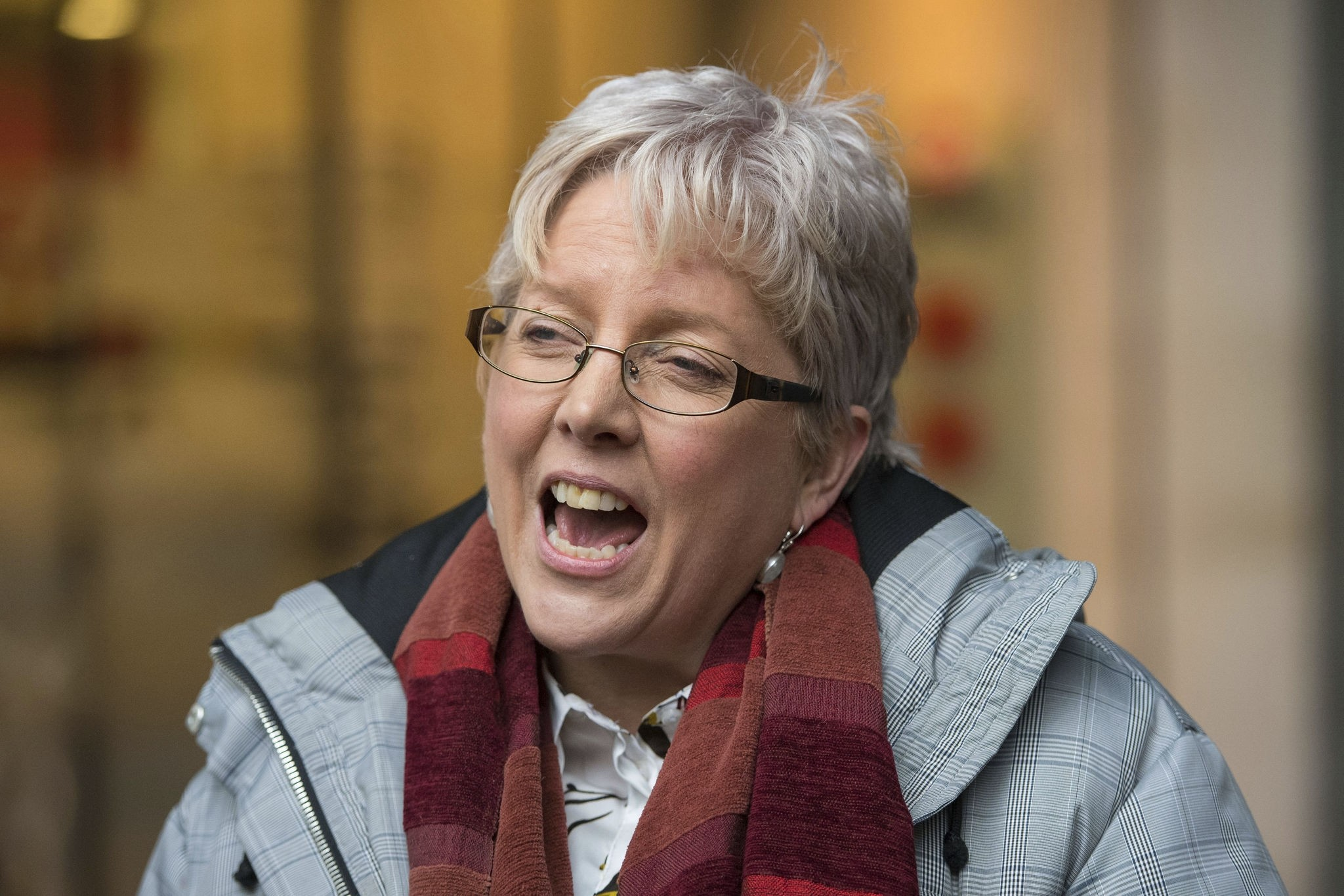 BBC's China editor Carrie Gracie speaks to the media outside BBC Broadcasting House in London, Monday Jan. 8, 2018. (PA via AP)