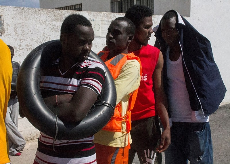 Arrival of sub-Saharan migrants at Motril's port after being rescued from two dinghies by Maritime Salvage near the Alboran island in Andalusia, Spain, June 2, 2018. (EPA Photo)