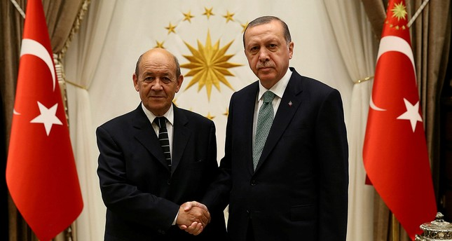 Le Drian (L) and Erdoğan shake hands in Beştepe Presidential Complex (Reuters Photo)