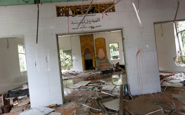 The interior of a destroyed mosque is seen after a group of men attack it in the first serious outburst of inter-religious violence in months in the village of Thayethamin outside Yangon, Myanmar June 24, 2016. (Reuters Photo)