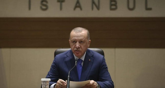 President Recep Tayyip Erdo?an speaks to the media before traveling to Berlin for a summit on Libya, Istanbul, Jan.19, 2020. AP PHOTO
