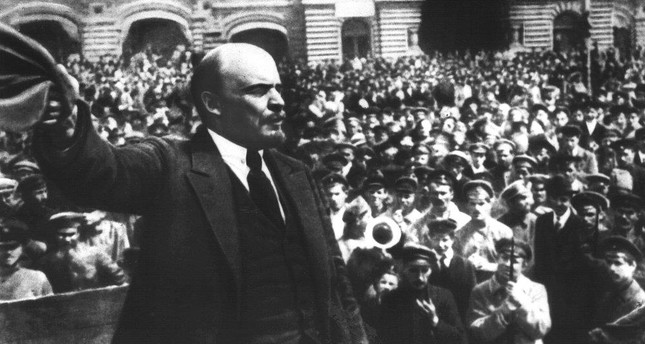 Founder of Soviet Russia Vladimir Ilyich Lenin addressing soldiers of the new Soviet Army in Red Square, Moscow, May 25, 1919.