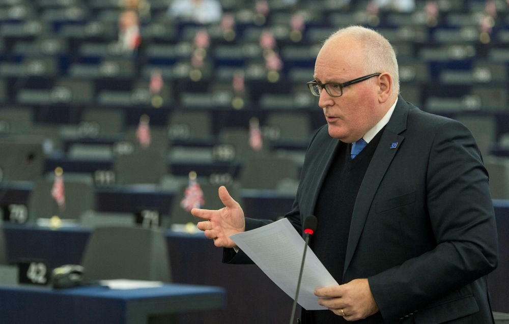 European Commission First Vice President Frans Timmermans delivers a speech at European Parliament, Strasbourg, Nov. 15.