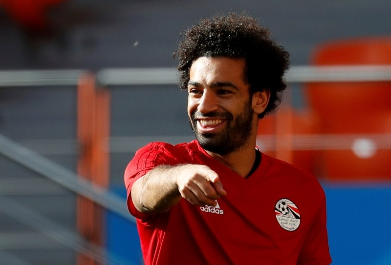 Egypt's Mohamed Salah gestures during training at the Ekaterinburg Arena in Yekaterinburg, Russia, June 14, 2018. (Reuters Photo)
