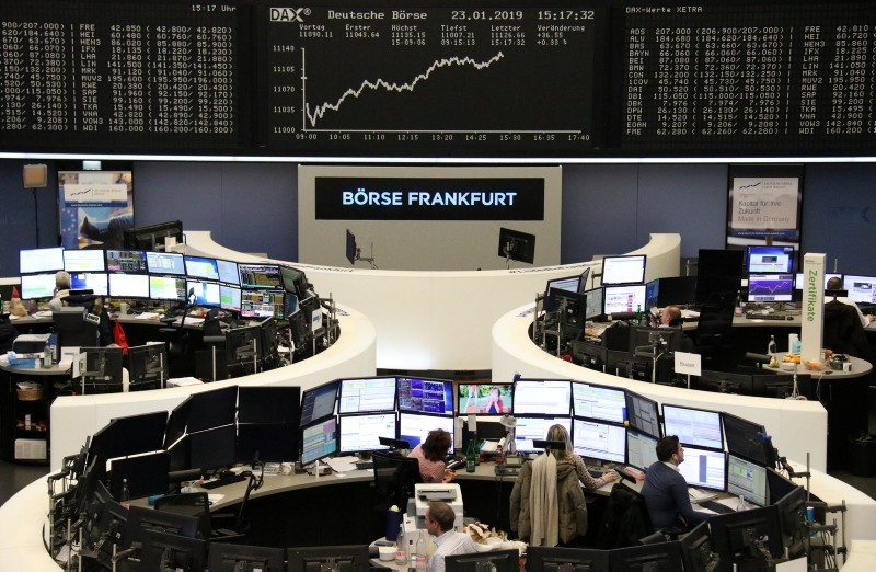 The German share price index DAX graph is pictured at the stock exchange in Frankfurt, Germany, January 23, 2019. (Reuters Photo)
