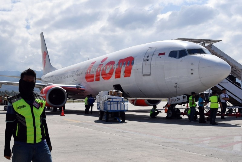 In this file photo taken on October 10, 2018, shows a Lion Air Boeing 737-800 aircraft at the Mutiara Sis Al Jufri airport in Palu. (AFP Photo)